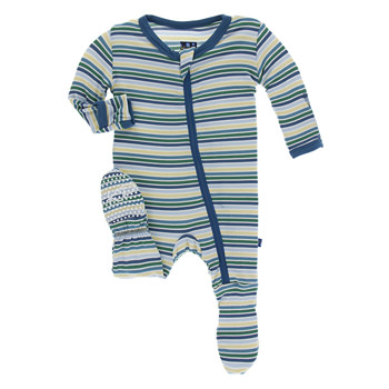 Print Footie with Zipper in Boy Perth Stripe
