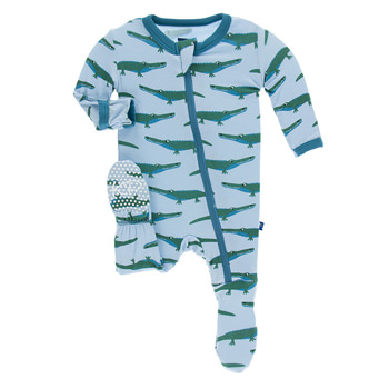 Print Footie with Zipper in Pond Crocodile