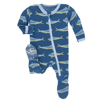 Print Footie with Zipper in Twilight Dolphin Fish