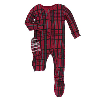 Print Footie with Zipper in Christmas Plaid