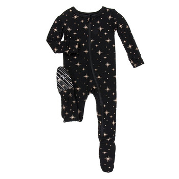 Print Footie with Zipper in Rose Gold Bright Stars