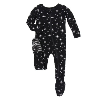 Print Footie with Zipper in Silver Bright Stars