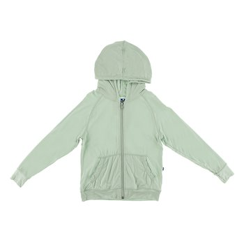 Lightweight Solid Zip Front Hoodie in Aloe