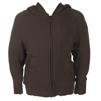 Lightweight Solid Zip Front Hoodie in Bark
