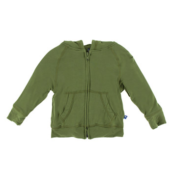 Lightweight Solid Zip Front Hoodie in Moss
