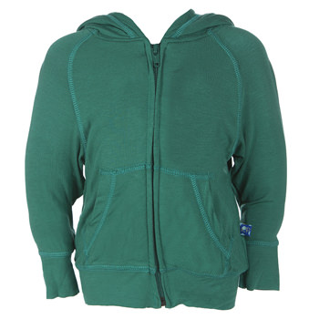 Lightweight Solid Zip Front Hoodie in Shady Glade