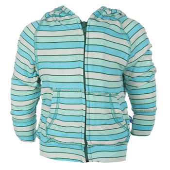 Lightweight Print Zip Front Hoodie in Boy Tropical Stripe