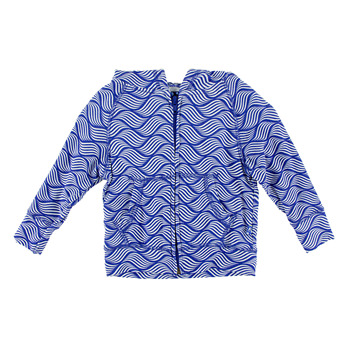 Lightweight Print Zip Front Hoodie in Kite Water Lattice