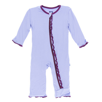 Solid Muffin Ruffle Coverall with Zipper  in Lilac with Grapevine Trim