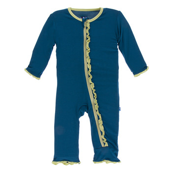 Solid Muffin Ruffle Coverall with Zipper in Peacock with Willow Trim