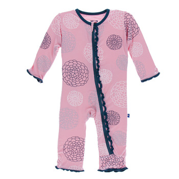 Print Muffin Ruffle Coverall with Zipper in Lotus Blooms
