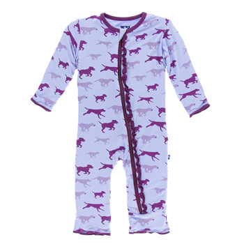 Print Muffin Ruffle Coverall with Zipper in Lilac Running Labs