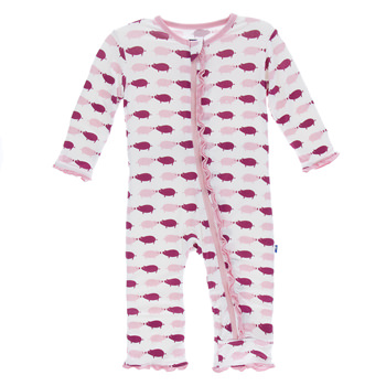 Print Muffin Ruffle Coverall with Zipper in Natural Pigs