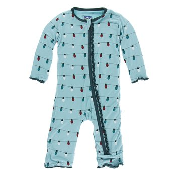 f69fc63655f Print Muffin Ruffle Coverall with Zipper in Glacier Holiday Lights