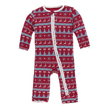 1a3de07e54a65 Print Muffin Ruffle Coverall with Zipper in Nordic Print