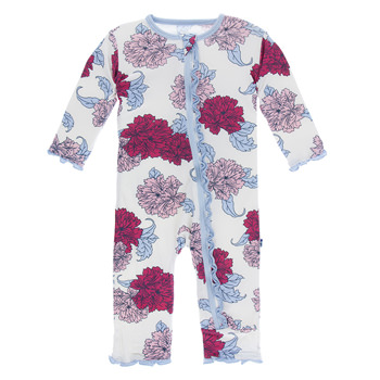 Print Muffin Ruffle Coverall with Zipper in Natural Peony