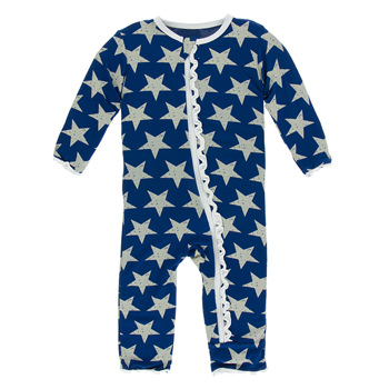 Print Muffin Ruffle Coverall with Zipper in Vintage Stars