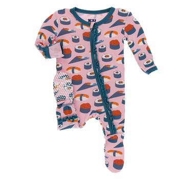 Print Muffin Ruffle Footie with Zipper in Lotus Sushi