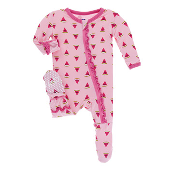 Print Muffin Ruffle Footie with Zipper in Lotus Watermelon