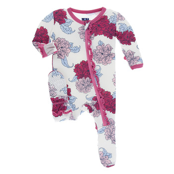 Print Muffin Ruffle Footie with Zipper in Natural Peony