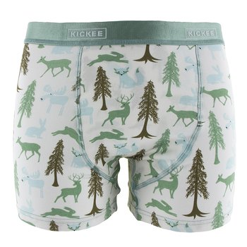 Men's Boxer Brief in Natural Woodland Holiday
