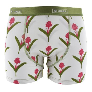 Men's Boxer Brief in Natural Red Ginger Flowers