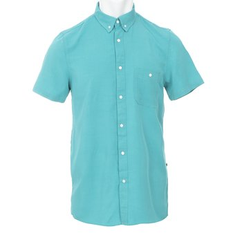KICKEE Mens Solid Short Sleeve Performance Jersey Henley in Spring Sky S
