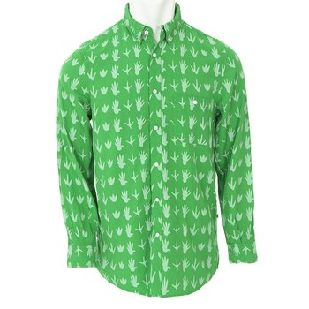Men's Print Long Sleeve Woven Button-Down Shirt in Dino Tracks