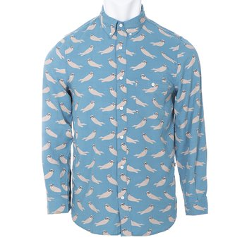 Men's Print Long Sleeve Woven Button-Down Shirt in Blue Moon Sea Otter