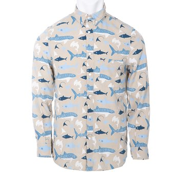 Men's Print Long Sleeve Woven Button-Down Shirt in Burlap Sharks