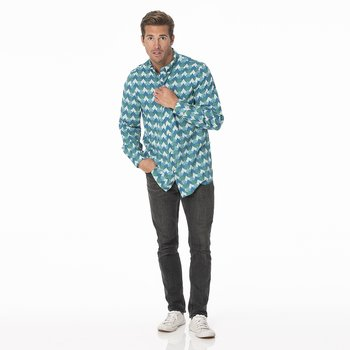 Men's Print Long Sleeve Woven Button-Down Shirt in Ivy Waves