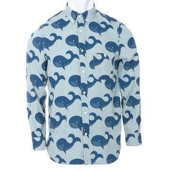Men's Print Long Sleeve Woven Button-Down Shirt in Jade Whales