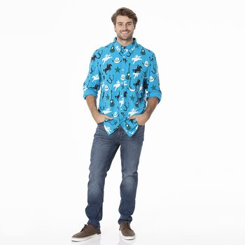Men's Print Long Sleeve Woven Button-Down Shirt in Amazon Cowboy