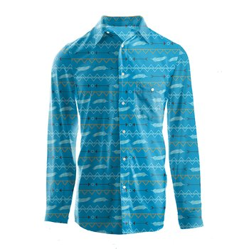 Men's Print Long Sleeve Woven Button-Down Shirt in Amazon Southwest
