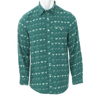 Men's Print Long Sleeve Woven Button-Down Shirt in Ivy Chickens