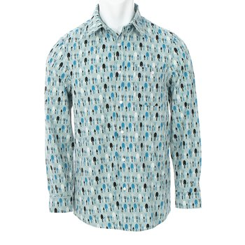 Men's Print Long Sleeve Woven Button-Down Shirt in Jade Garden Tools