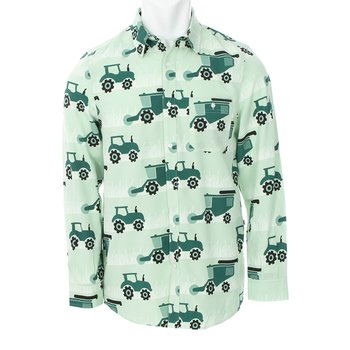 Men's Print Long Sleeve Woven Button-Down Shirt in Pistachio Tractors and Wheat