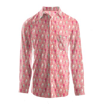 Men's Print Long Sleeve Woven Button-Down Shirt in Strawberry Garden Tools