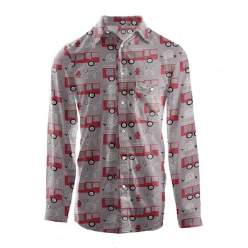 Men's Print Long Sleeve Woven Button-Down Shirt in Feather Firefighter