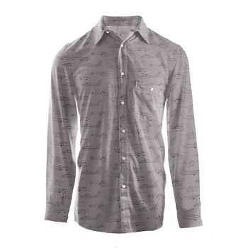 Men's Print Long Sleeve Woven Button-Down Shirt in Feather Heroes in the Air