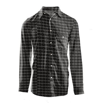 Men's Print Long Sleeve Woven Button-Down Shirt in Midnight Infrastructure