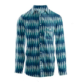 Men's Print Long Sleeve Woven Button-Down Shirt in Navy Forestry