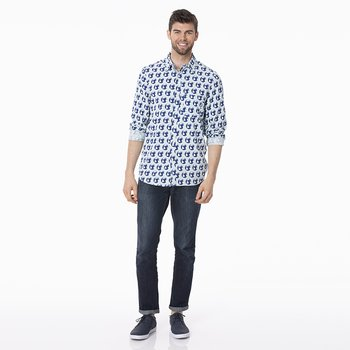 Men's Print Long Sleeve Woven Button-Down Shirt in Spring Sky Environmental Protection