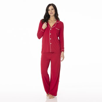 Solid Collared Pajama Set in Crimson with Natural