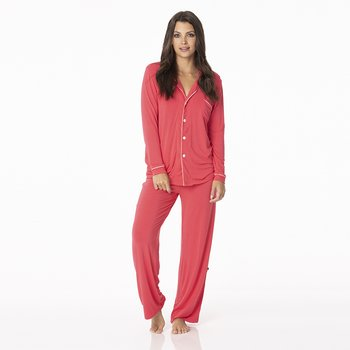 Solid Collared Pajama Set in Red Ginger with Strawberry