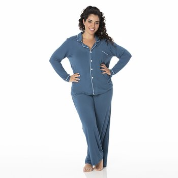 Solid Collared Pajama Set in Twilight with Pond