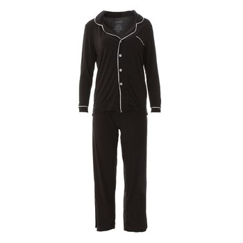 Solid Collared Pajama Set in Zebra with Natural
