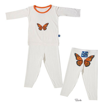 Print Long Sleeve Pajama in Natural with Monarch Butterfly