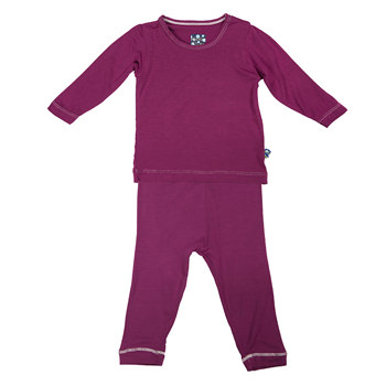 Basic Long Sleeve Pajama Set in Orchid