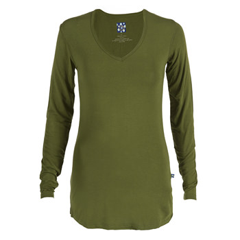 Basic Long Sleeve One Tee in Moss